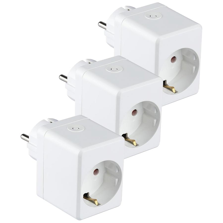 Set of 3 white smart plug with USB port
