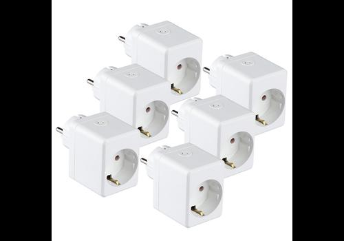 V-TAC Set of 6 white smart plug with USB port