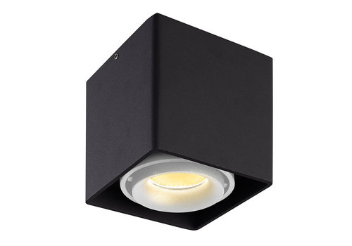 HOFTRONIC™ Dimmable LED surface mounted ceiling spotlight Esto Black with white bezel IP20 tiltable excl. GU10 lightsource