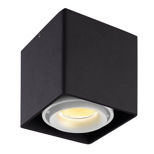 HOFTRONIC™ Dimbare LED Opbouwspot plafond Esto Zwart met witte afdekring IP20 kantelbaar excl. GU10 lichtbron
