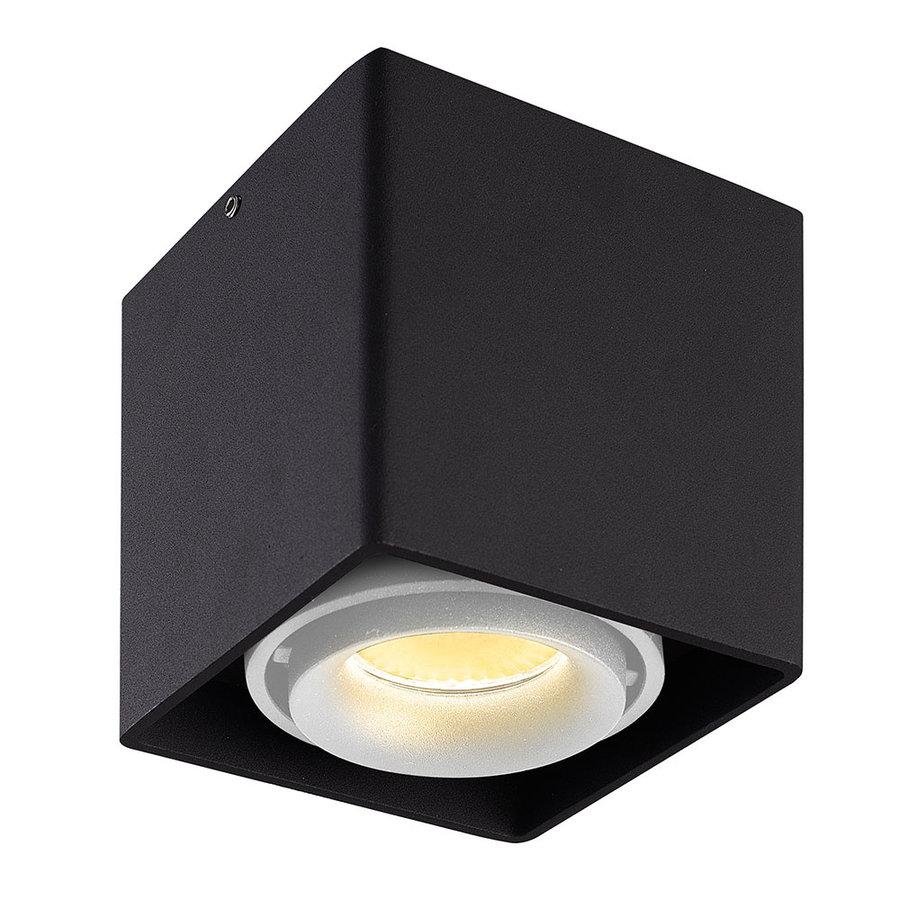 Dimbare LED opbouw plafondspot Esto Zwart met witte afdekring IP20 kantelbaar excl. GU10 lichtbron