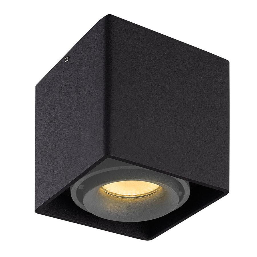 Dimbare LED opbouw plafondspot Esto Zwart met grijze afdekring IP20 kantelbaar excl. GU10 lichtbron
