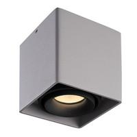 Dimbare LED opbouw plafondspot Esto Grijs met zwarte afdekring IP20 kantelbaar excl. GU10 lichtbron
