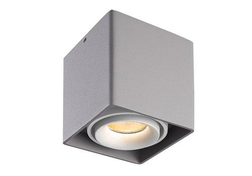 HOFTRONIC™ Dimbare LED Opbouwspot plafond Esto Grijs met witte afdekring IP20 kantelbaar excl. GU10 lichtbron