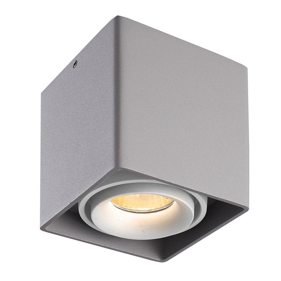 Dimbare LED opbouw plafondspot Esto Grijs met witte afdekring IP20 kantelbaar excl. GU10 lichtbron