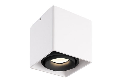 HOFTRONIC™ Dimmable LED surface mounted ceiling spotlight Esto White with black bezel IP20 tiltable excl. GU10 lightsource