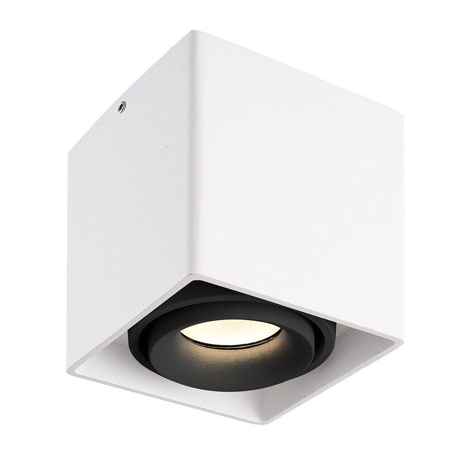 Dimbare LED opbouw plafondspot Esto Wit met zwarte afdekring IP20 kantelbaar excl. GU10 lichtbron