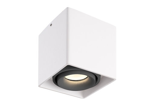 HOFTRONIC™ Dimbare LED Opbouwspot plafond Esto Wit met grijze afdekring IP20 kantelbaar excl. GU10 lichtbron