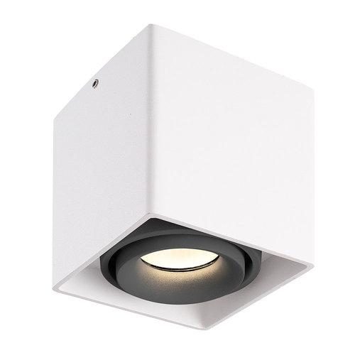 HOFTRONIC™ Dimbare LED opbouw plafondspot Esto Wit met grijze afdekring IP20 kantelbaar excl. GU10 lichtbron