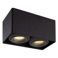 Dimbare LED opbouw plafondspot Esto Zwart 2 lichts met 2 grijze afdekringen IP20 kantelbaar excl. GU10 lichtbron