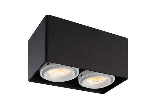 HOFTRONIC™ Dimbare LED opbouw plafondspot Esto Zwart 2 lichts met 2 witte afdekringen IP20 kantelbaar excl. GU10 lichtbron