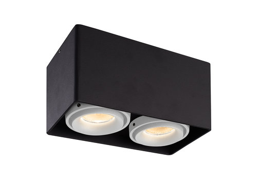 HOFTRONIC™ Dimmable LED surface mounted ceiling spotlight Esto Black 2 light with 2 white bezels IP20 tiltable excl. GU10 lightsource