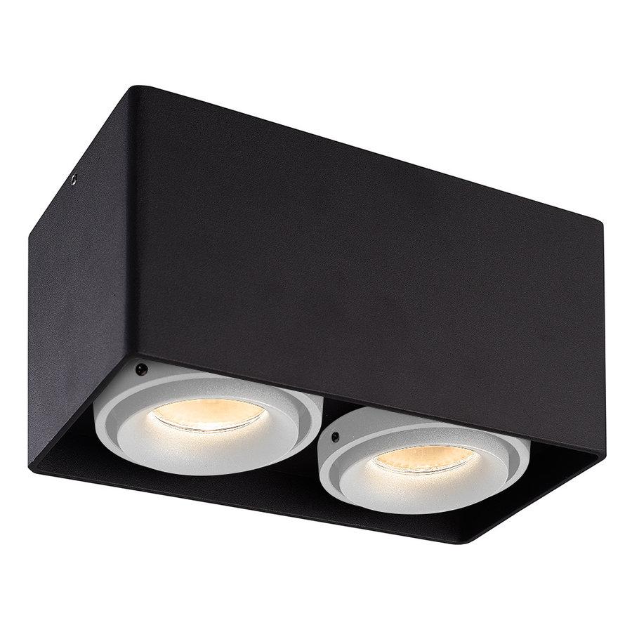 Dimbare LED Opbouwspot plafond Esto Zwart 2 lichts met 2 witte afdekringen IP20 kantelbaar excl. GU10 lichtbron
