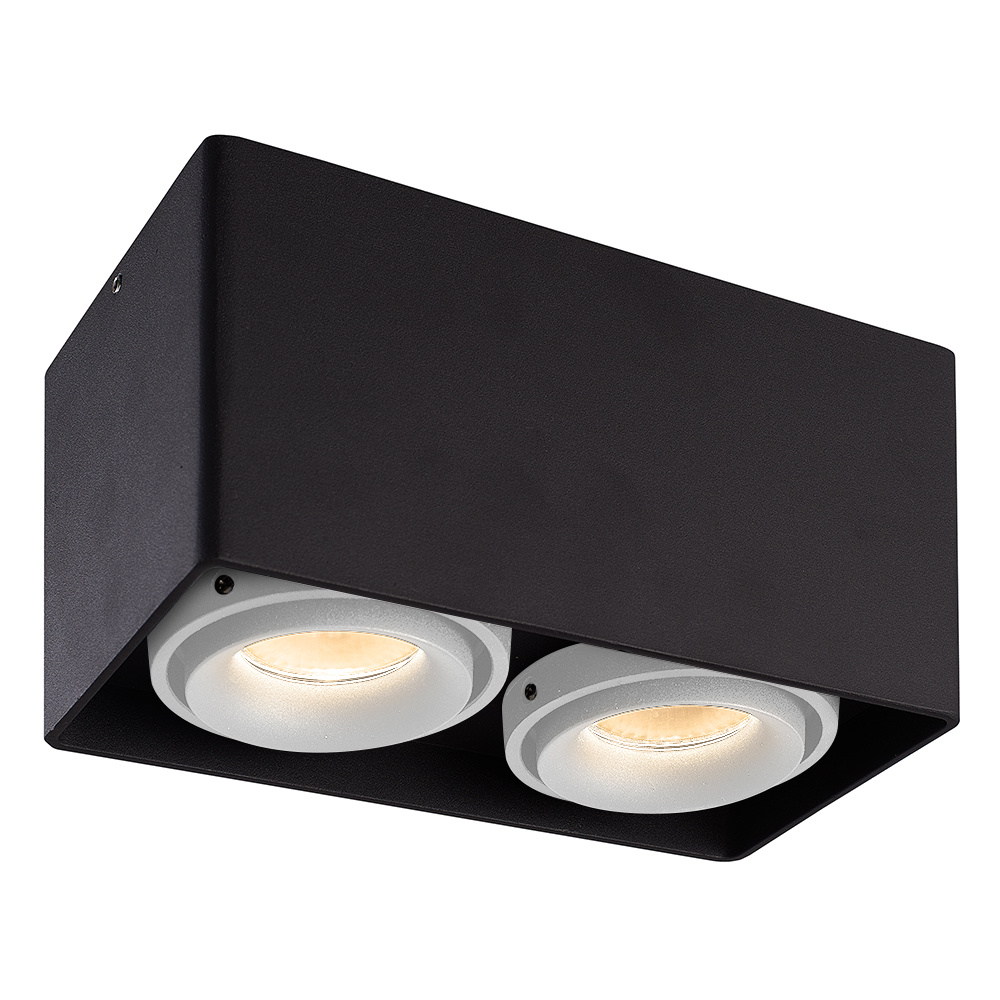 Dimbare LED opbouw plafondspot Esto Zwart 2 lichts met 2 witte afdekringen IP20 kantelbaar excl. GU1