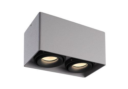 HOFTRONIC™ Dimbare LED Opbouwspot plafond Esto Grijs 2 lichts met 2 zwarte afdekringen IP20 kantelbaar excl. GU10 lichtbron