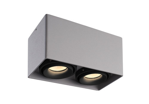HOFTRONIC™ Dimmbare LED Deckenanbaustrahler Esto Grau 2 Lichter mit 2 schwarzem Abdeckringen IP20 Kippbar Exkl. GU10 Lichtquelle