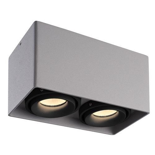 HOFTRONIC™ Dimbare LED opbouw plafondspot Esto Grijs 2 lichts met 2 zwarte afdekringen IP20 kantelbaar excl. GU10 lichtbron