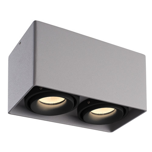 HOFTRONIC™ Dimmable LED surface mounted ceiling spotlight Esto Grau 2 light with 2 black bezels IP20 tiltable excl. GU10 lightsource