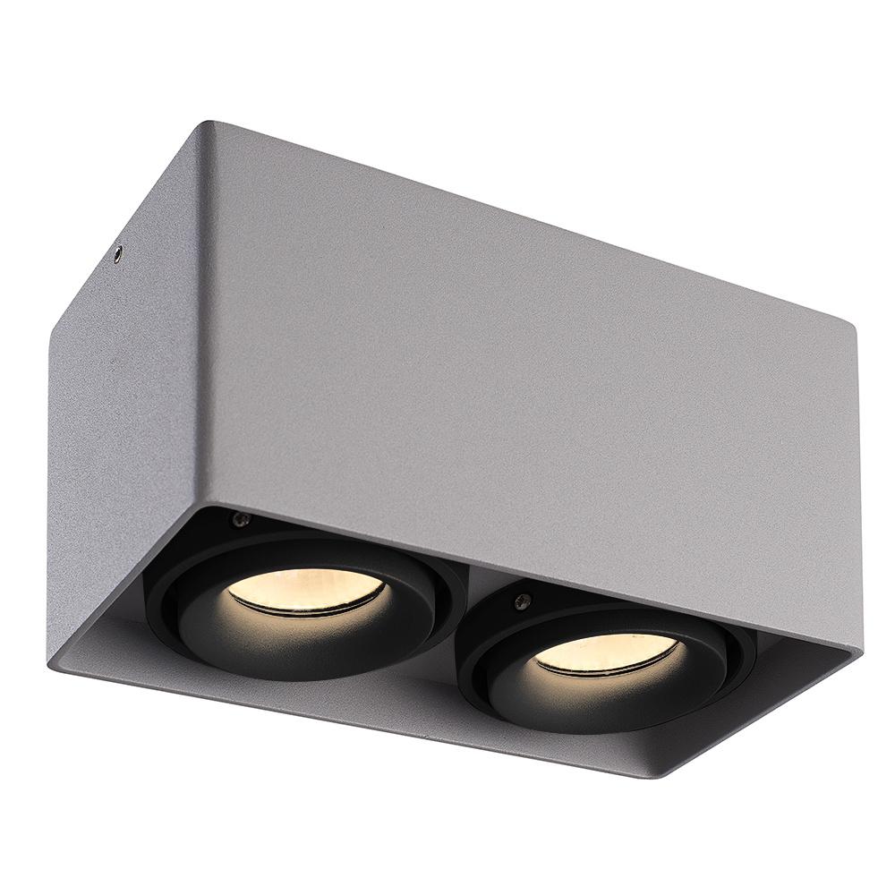 Dimbare LED Opbouwspot plafond Esto Grijs 2 lichts met 2 zwarte afdekringen IP20 kantelbaar excl. GU