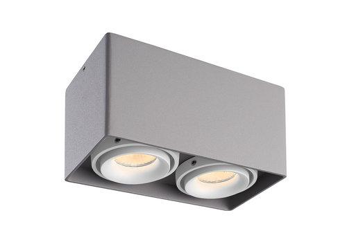 HOFTRONIC™ Dimbare LED opbouw plafondspot Esto Grijs 2 lichts met 2 witte afdekringen IP20 kantelbaar excl. GU10 lichtbron