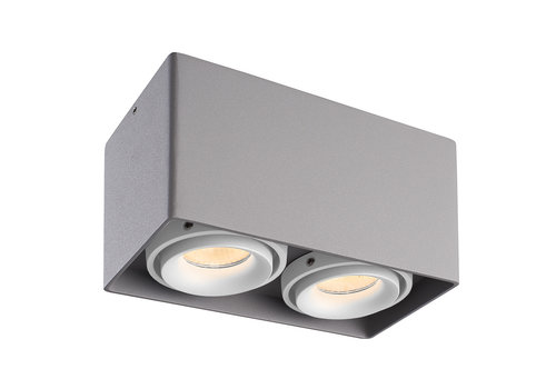 HOFTRONIC™ Dimmable LED surface mounted ceiling spotlight Esto Grey 2 light with 2 white bezels IP20 tiltable excl. GU10 lightsource