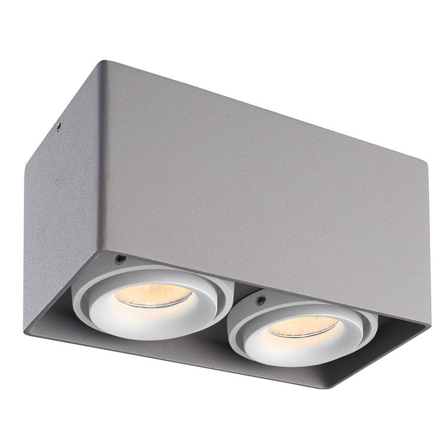 Dimbare LED opbouw plafondspot Esto Grijs 2 lichts met 2 witte afdekringen IP20 kantelbaar excl. GU10 lichtbron