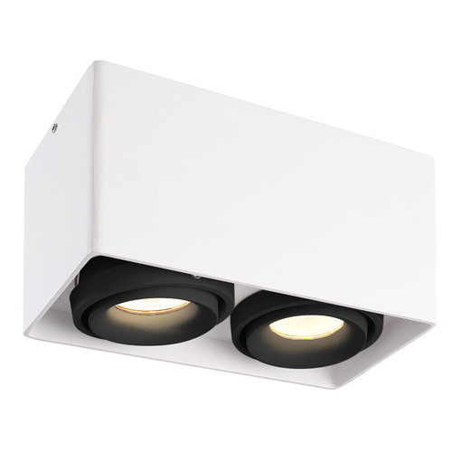 HOFTRONIC™ Dimmable LED surface mounted ceiling spotlight Esto White 2 light with 2 black bezels IP20 tiltable excl. GU10 lightsource