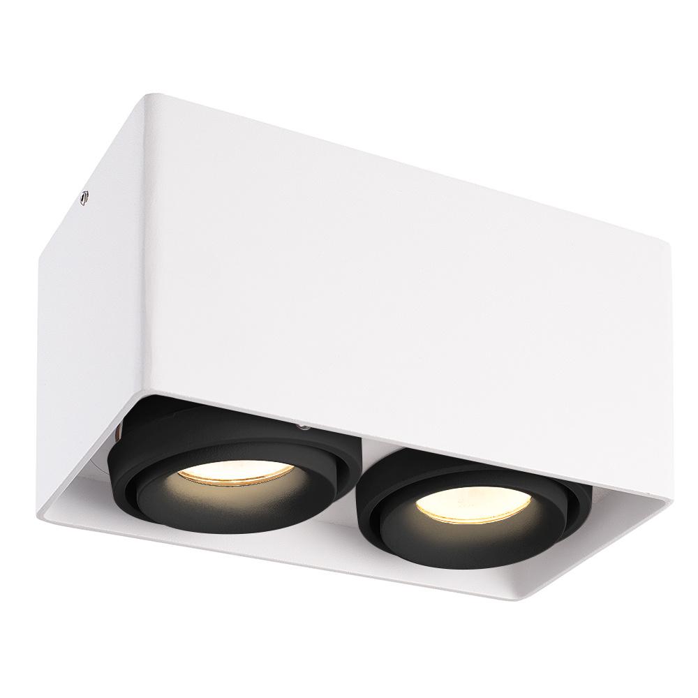 Dimbare LED Opbouwspot plafond Esto Wit 2 lichts met 2 zwarte afdekringen IP20 kantelbaar excl. GU10