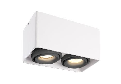 HOFTRONIC™ Dimbare LED opbouw plafondspot Esto Wit 2 lichts met 2 grijze afdekringen IP20 kantelbaar excl. GU10 lichtbron