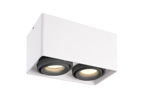 HOFTRONIC™ Dimmable LED surface mounted ceiling spotlight Esto White 2 light with 2 grey bezels IP20 tiltable excl. GU10 lightsource
