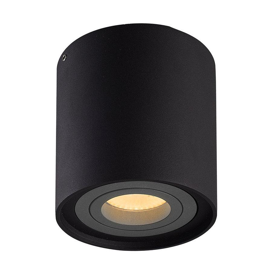 Dimbare LED opbouw plafondspot Ray Zwart met grijze afdekring IP20 kantelbaar excl. lichtbron