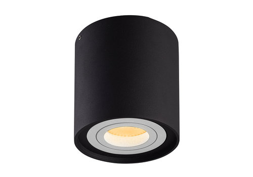 HOFTRONIC™ Dimbare LED opbouw plafondspot Ray Zwart met witte afdekring IP20 kantelbaar excl. lichtbron