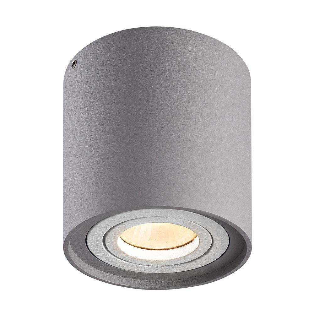 Dimbare LED Opbouwspot plafond Ray Grijs met witte afdekring IP20 kantelbaar excl. lichtbron