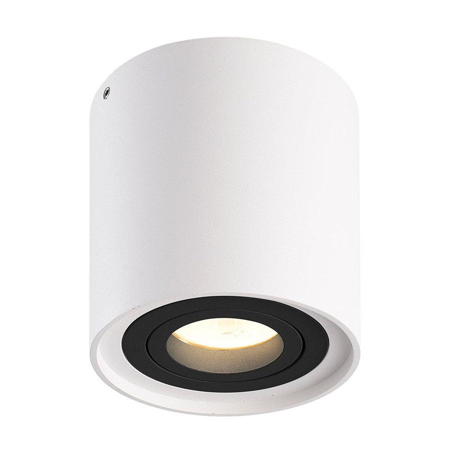 Dimbare LED opbouw plafondspot Ray Wit met zwarte afdekring IP20 kantelbaar excl. lichtbron