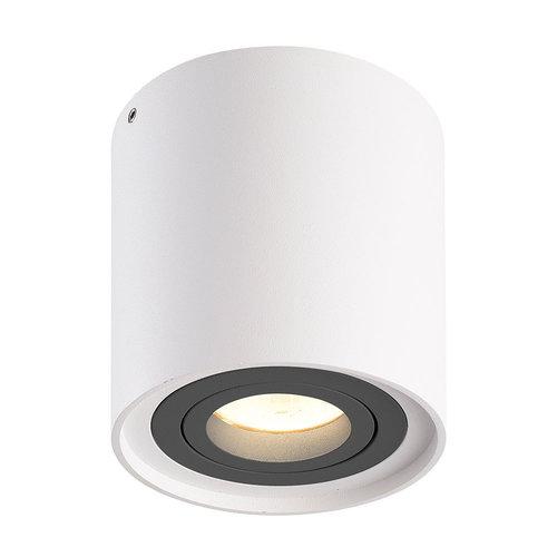 HOFTRONIC™ Dimbare LED Opbouwspot plafond Ray Wit met grijze afdekring IP20 kantelbaar excl. lichtbron