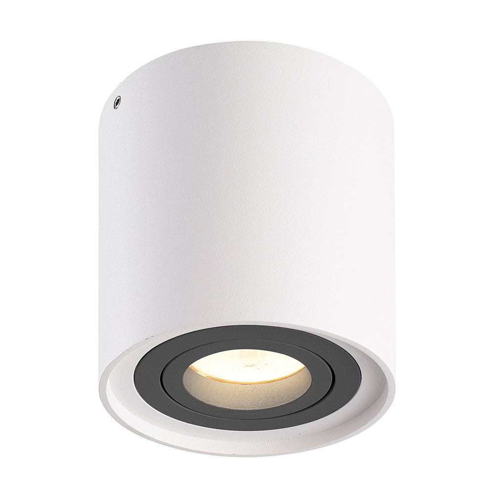 Dimbare LED Opbouwspot plafond Ray Wit met grijze afdekring IP20 kantelbaar excl. lichtbron