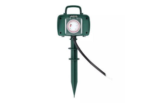 V-TAC Tuin stekkerdoos met 2 stopcontacten incl. timer en 3 meter kabel IP44 spatwaterbestendig