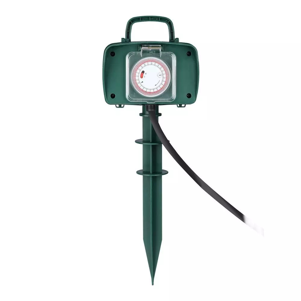 Tuin stekkerdoos met 2 stopcontacten incl. timer en 3 meter kabel IP44 spatwaterbestendig