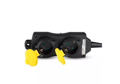 V-TAC Outdoor socket with 4 outlets incl. 3 meter cable IP44 splash-proof