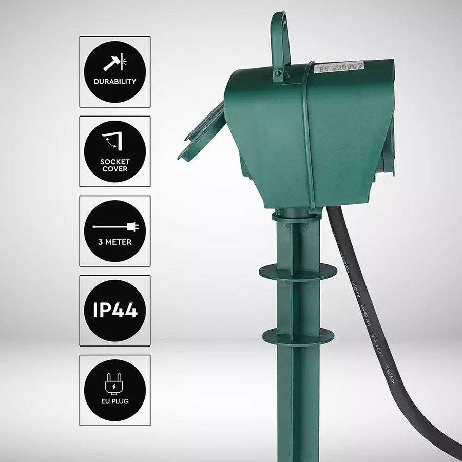 3x Tuin stekkerdoos met 4 stopcontacten incl. 3 meter kabel IP44 spatwaterbestendig