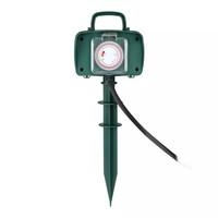3x Tuin stekkerdoos met 2 stopcontacten incl. timer en 3 meter kabel IP44 spatwaterbestendig