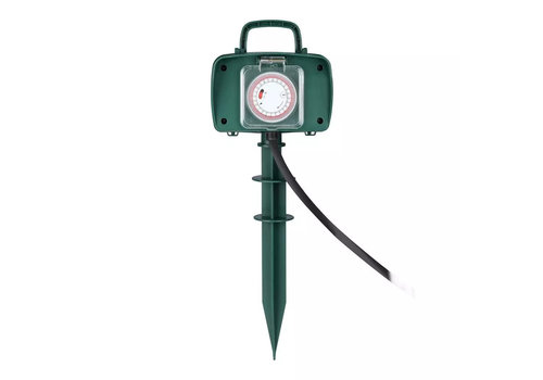 V-TAC 3x Garden socket with 2 sockets incl. timer and 3 meter cable IP44 splash water resistant
