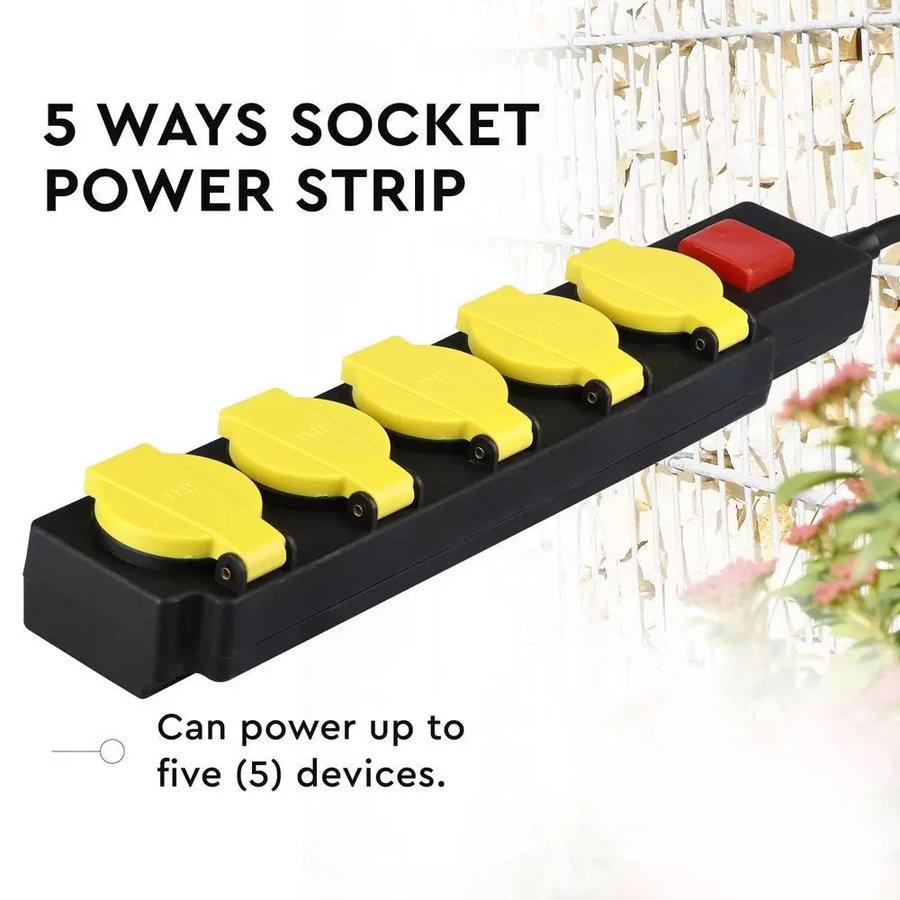 3x Buiten stekkerdoos met 5 stopcontacten incl. 3 meter kabel IP44 spatwaterbestendig