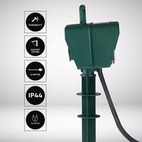 6x Tuin stekkerdoos met 2 stopcontacten incl. timer en 3 meter kabel IP44 spatwaterbestendig