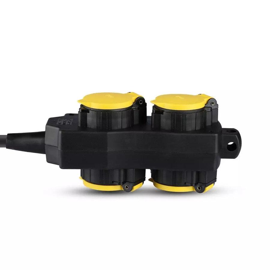 6x Buiten stekkerdoos met 4 stopcontacten incl. 3 meter kabel IP44 spatwaterbestendig