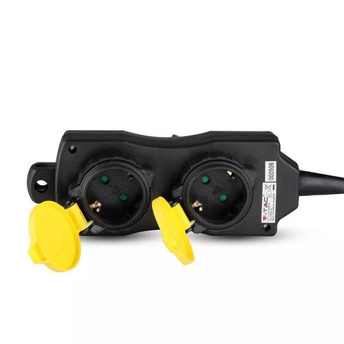 V-TAC 6x Buiten stekkerdoos met 4 stopcontacten incl. 3 meter kabel IP44 spatwaterbestendig