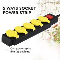 6x Buiten stekkerdoos met 5 stopcontacten incl. 3 meter kabel IP44 spatwaterbestendig