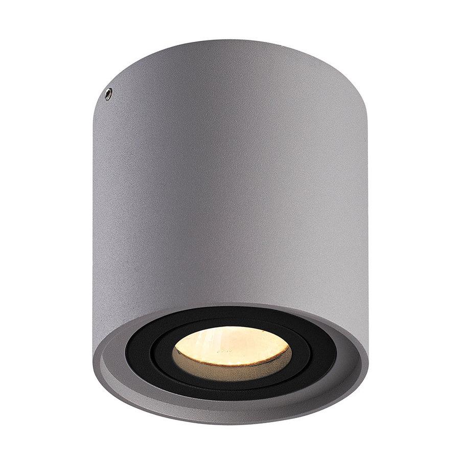 Dimbare LED Opbouwspot plafond Ray Grijs met zwarte afdekring IP20 kantelbaar excl. lichtbron