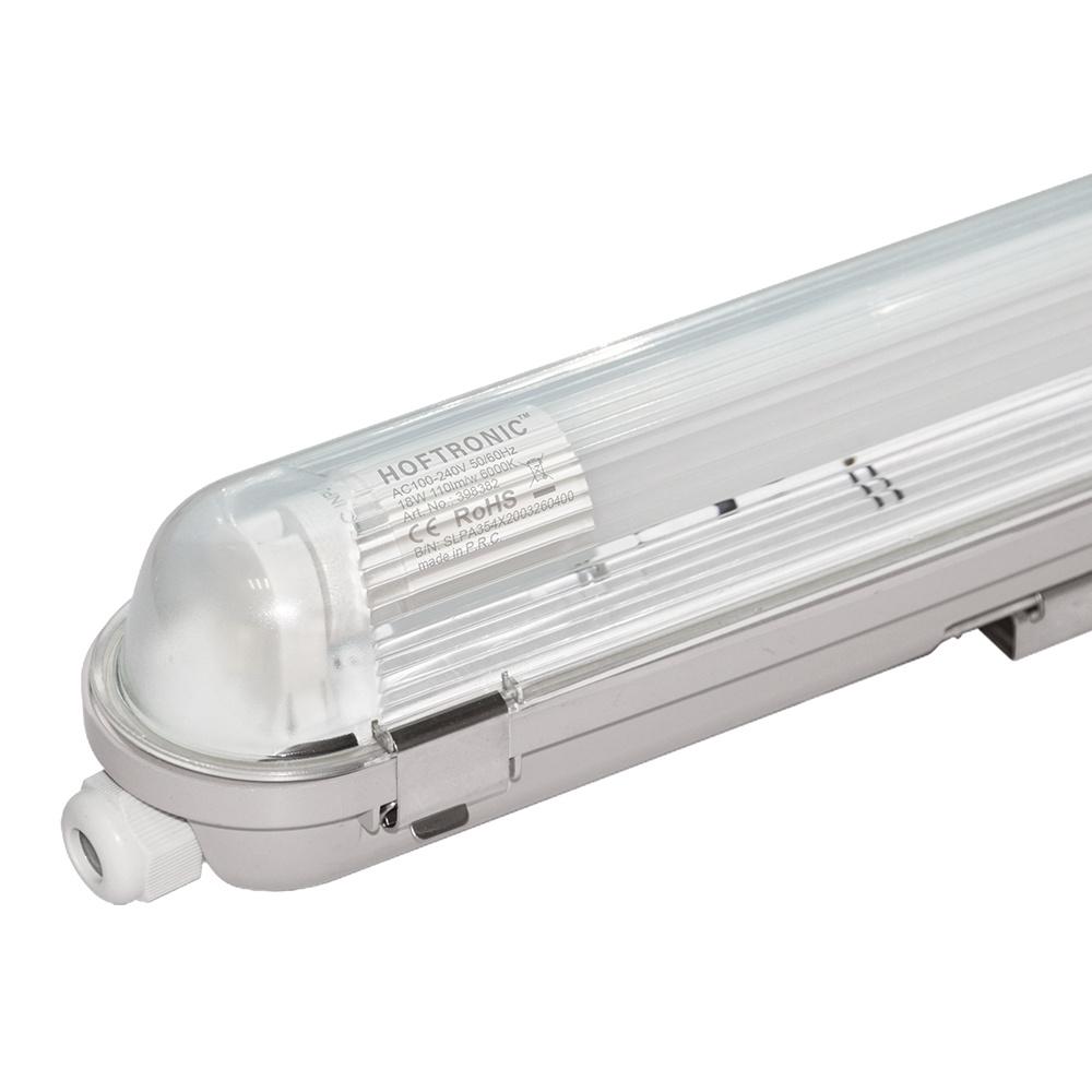 LED Wannenleuchte IP65 120 cm Vernetzbar 6400K Inkl. 18 Watt Samsung LED Röhre Edelstahl-Clips