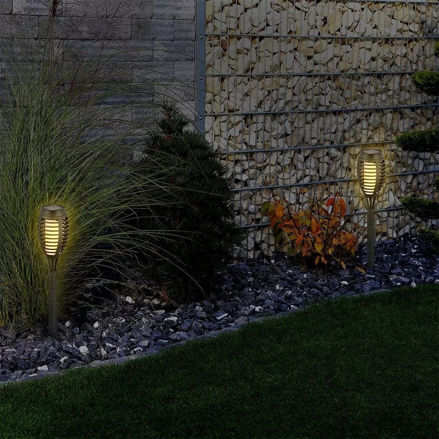 Youth Fire LED Solar lamp garden torch with flame effect incl. twilight sensor 2200K IP44 (50cm)